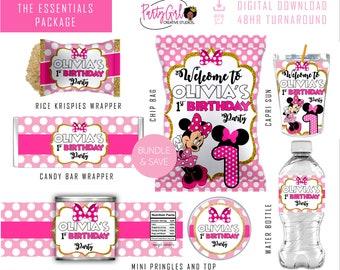 DIGITAL Minnie Mouse Chip Bag; Capri Sun Juice Pouch Labels; Water Bottle Labels; Fruit Snacks Party Favors