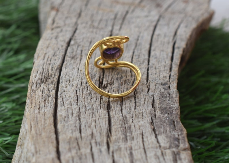 VR-462 Rings for girls*Gemstone Rings*Statement Rings* February Birthstone Rings*Gold Rings*  Organic Ring Amethyst Ring *Wedding Rings