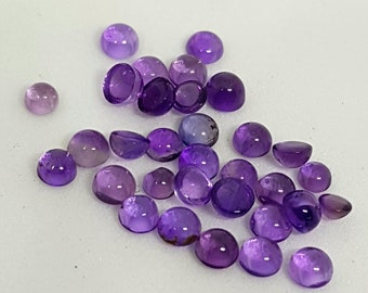 31 Pieces 4 mm Round  Natural African Amethyst Cabochon Calibrated Amethyst Loose Stone Cab  Semi Precious Gemstone Cabochon Lot