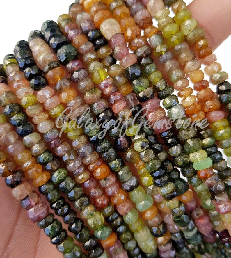Natural Multi Tourmaline Beads  Rondelle Faceted Beads  Tourmaline Rondelle Beads  5 To 6mm  Roundelle Beads Jewellery Making 16 Inch