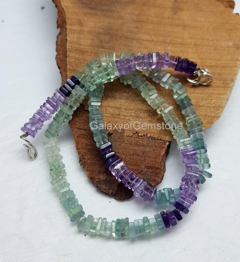 Natural Fluorite Beads Natural Multi Fluorite Heishi Square shape Beads Fluorite Heishi Beads 1 Strand 4-6 mm Beads 16 Inch Beads