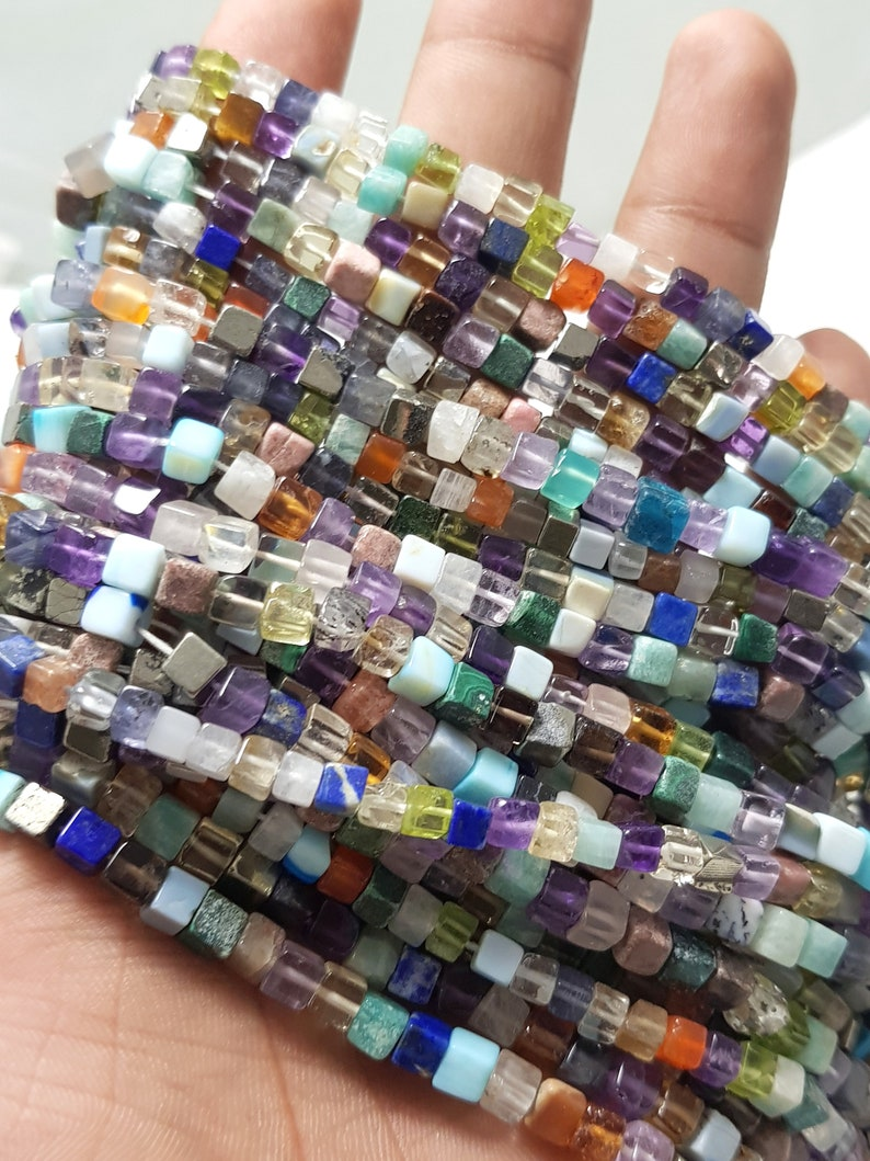 Natural Multi Disco Cube Box Shape Smooth Gemstone Beads4-6 mmMulti Disco Plain 3D Cube Box BeadsMulti Disco Beads For Jewelry Craft