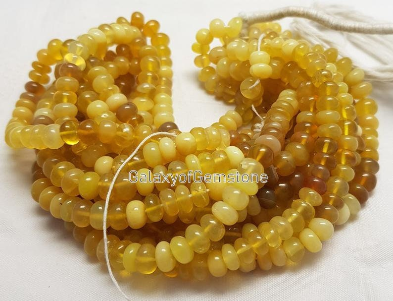 Top Quality Natural Yellow Opal Smooth Rondelle Beads7-8 MM Opal Gemstone Beads Yellow Opal Beads16 inchFor Making Jewelry