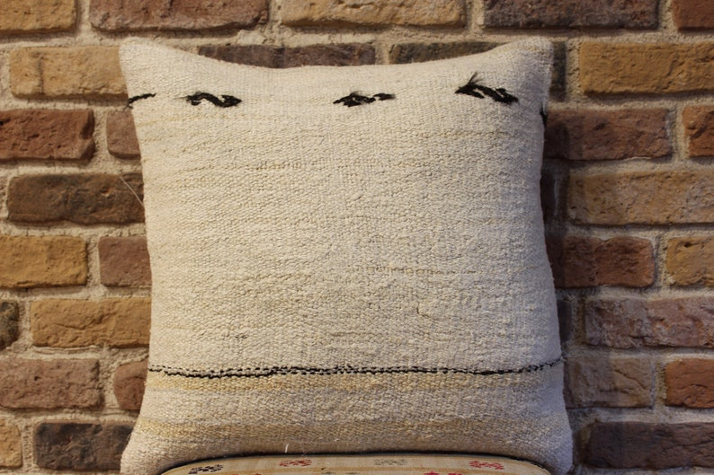 handmade pillow cover,white hemp pillow,cushion cover,living room decoration,throw pillow,striped pillow,19x19inches,big size hemp pillow