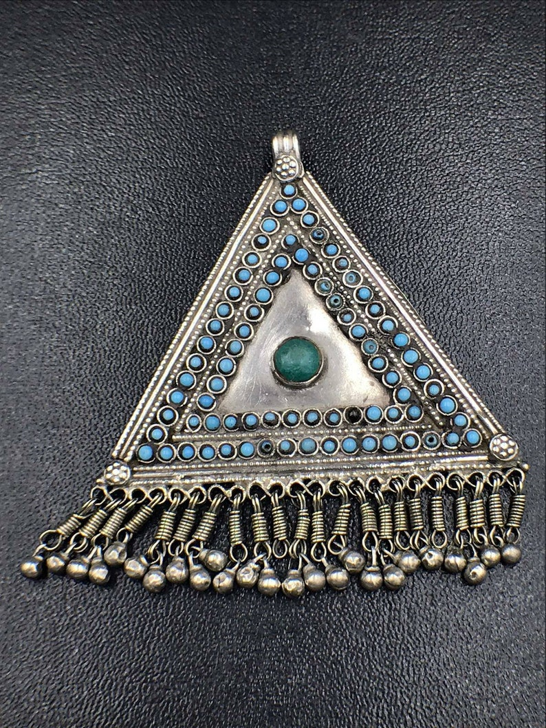 Antique anticha handmade old vintage silver with synthetic turquoise and glass