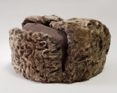 Russian Ushanka Natural Karakul Beige winter hat handmade