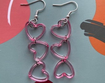 luv u xoxo black and red heart shaped lovecore handmade polymer clay earrings