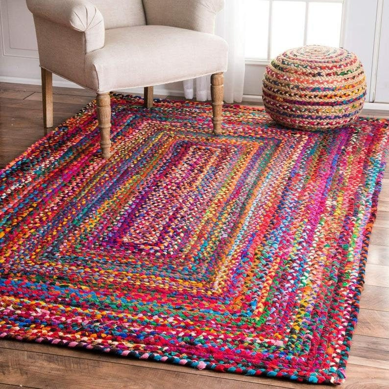 Multi-color Rectangle Rugs Indian Handmade Cotton Purely Yoga image 0