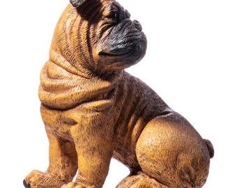 Retro Dog Bulldog Decoration Figure Artificial Stone 16x14x9 cm Very Lifelike