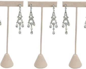 5.75 3 Pack 888 Display USA , Beige Faux Suede 3 Beige Faux Suede Earring T Stand Showcase Displays
