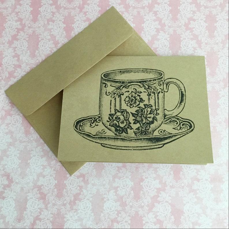 Set/6 Antique Vintage Black Teacup Blank All-Occasion Kraft image 0