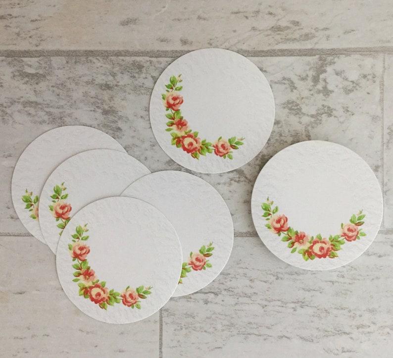 Set/25 Vintage Shabby Chic Cottage Rose Designer 2 Round image 0