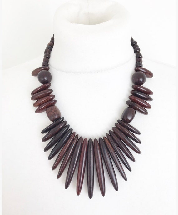 Vintage danish wood dark brown statement necklace