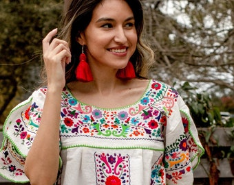 Mexican Embroidered Tunic Top,  Floral Peasant Blouse, Heavily Embroidered, Folk Vintage Style, 70's Style Boho Inspired Blouse