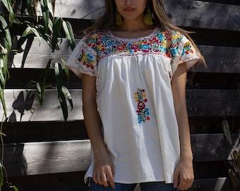Embroidered folk blouse smocked gauze Bohemian floral blouse 1930s embroidered blouse