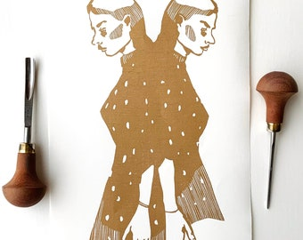 Original handmade linocut print, 34 x 17 cm. Limited, numbered and signed. Sisters, twins, friendship, gold.