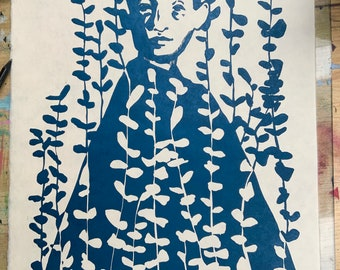 Original handmade linoleic print, A3. Limited, numbered and signed. Girls with eucalyptus, metallic blue, botanical