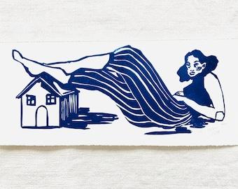 Original handmade linoleic print, approx. 33 x 14 cm. Signed. Girl with house, home, blue.