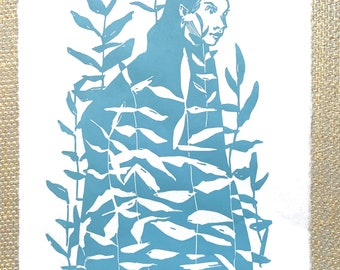 Original handmade linocut, DIN A4. Limited, numbered and signed. Woman with leaves, plants, turquoise.