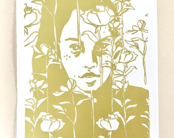 Botanical Portraits, No. 4. Original handmade linoleic print, A3. Limited, numbered and signed. Woman with yellow peonies, flowers.