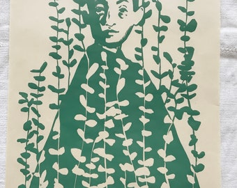 Original handmade linoleic print, A3. Limited, numbered and signed. Girls with eucalyptus, green, botanical.