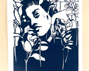 Botanical Portraits, No. 3. Original handmade linoleic print, A3. Limited, numbered and signed. Woman with berries and twigs, blue.
