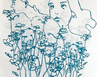 Bloom. Original handmade linoleic print, A3. Limited, numbered and signed. Girls with flowers, portraits of women, turquoise, light blue.