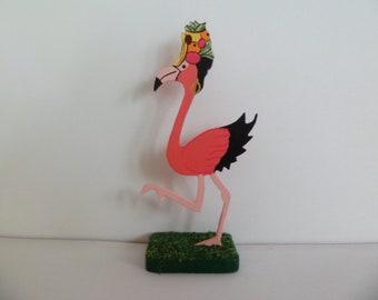 "Wooden Summer Flamingo - Chiquita Banana  1"" dollhouse scale"