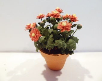 """Mum, garden mum. dark orange in a pot  1"""" scale  These are not real flowers!"""