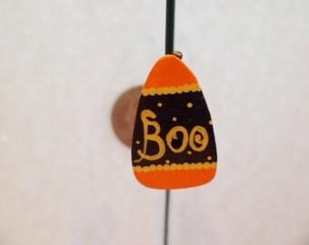 "Wooden Halloween Birdhouse, Candy Corn BOO  1"" scale"