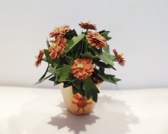 """Mum, potted in a turkey hand painted pot 1"""" scale  These flower are not real!"""
