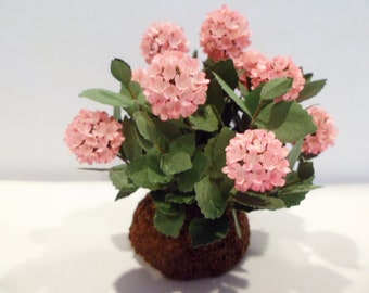 """Hydrangea,  Pink bush in a mound  1"""" scale  These are not real flowers!"""
