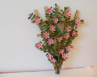 """Clematic light pink/deep pink center on a trellis 1"""" dollhouse scale   These flowers are not real!"""