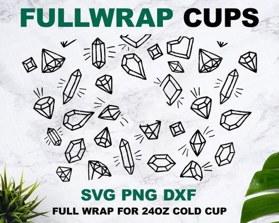 Diamond Starbucks cup SVG, Starbucks svg, Starbucks wrap svg, Full wrap Starbucks SVG files for Cricut 24oz venti cold cup