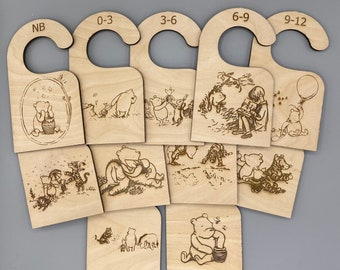 Classic Pooh Baby Wood Wardrobe Age Dividers /Baby Closet Dividers /Baby Clothes Organizer /Nursery Closet Organizer /Baby Shower Gift Ideas