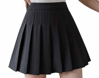 Women Girls Juniors Pleated Tennis Sport Skater Skirt Athletic School Solid Plaid Mini A Line Shape Uniform with Short Inside .