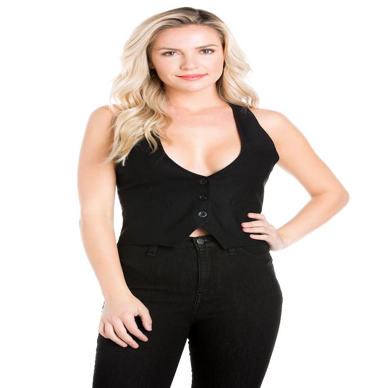 Women Satin Back Versatile Racerback Buttoned Waistcoat Black Vest Business Work Attire Formal Casual  Dressy Tuxedo Suit