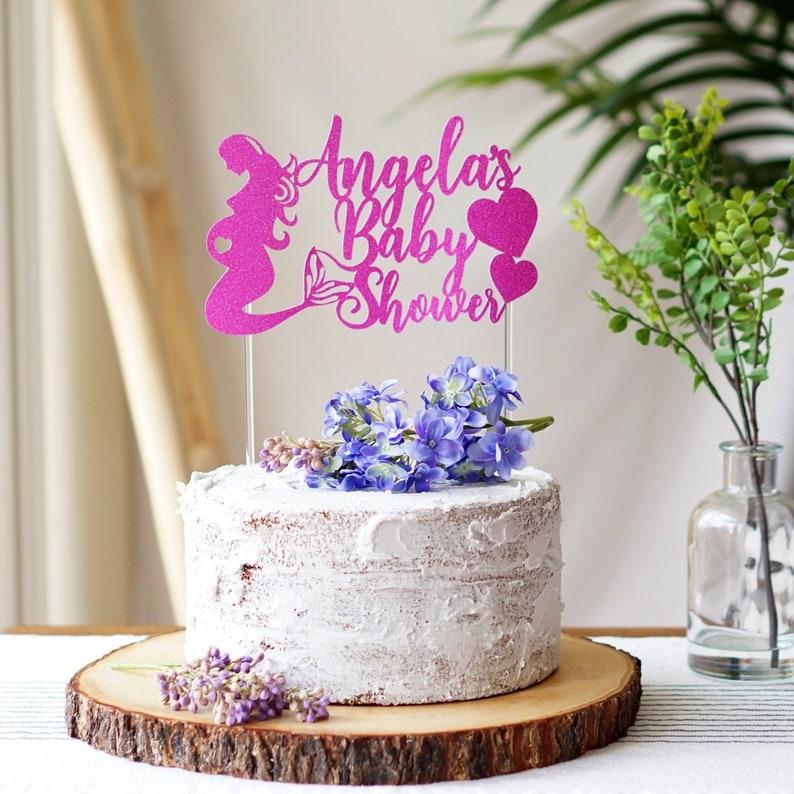 Personalized Cake Topper Bride Pink mermaid Custom Cake topper Mermaid baby shower cake topper Wedding Birthday Custom Cake Topper