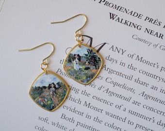 Impressionist painting jewelry, hand-painted Monet earrings, artisan jewelry, mini impressionist wearable art, Walk Near Argenteuil