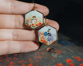 Impressionist painting earring, hand-painted Monet Poppies, artisan jewelry, mini impressionism art gift