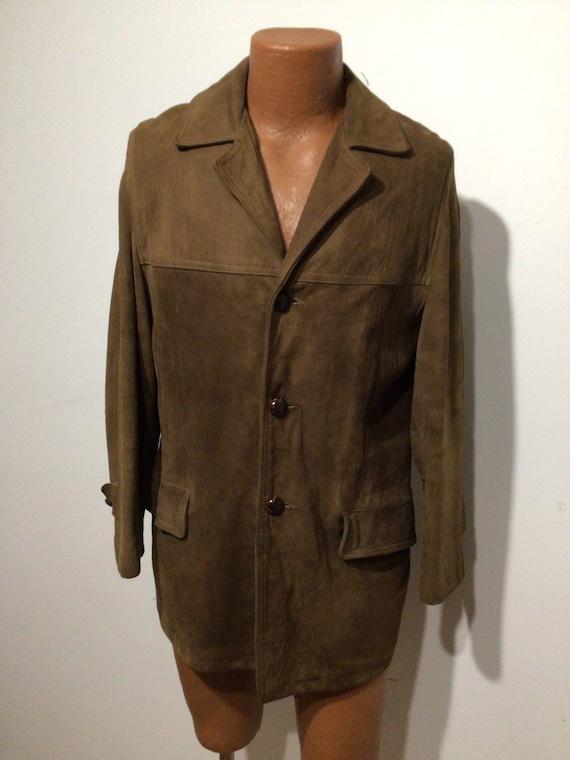 Vintage Men's chocolate brown suede jacket, borg r
