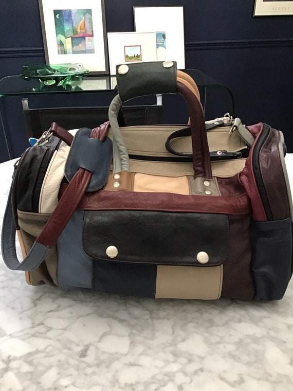 80s Vintage Leather patchwork travel duffle bag