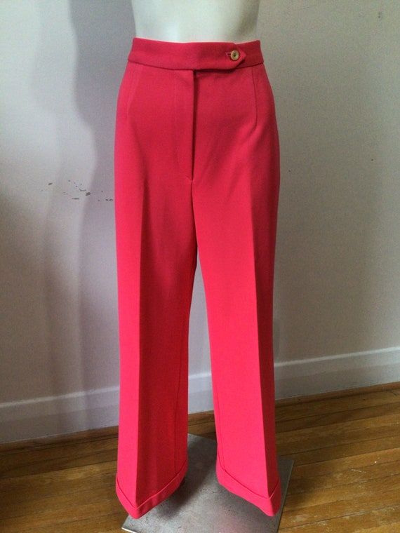 Vintage 70s deep coral polyester flared, high wais