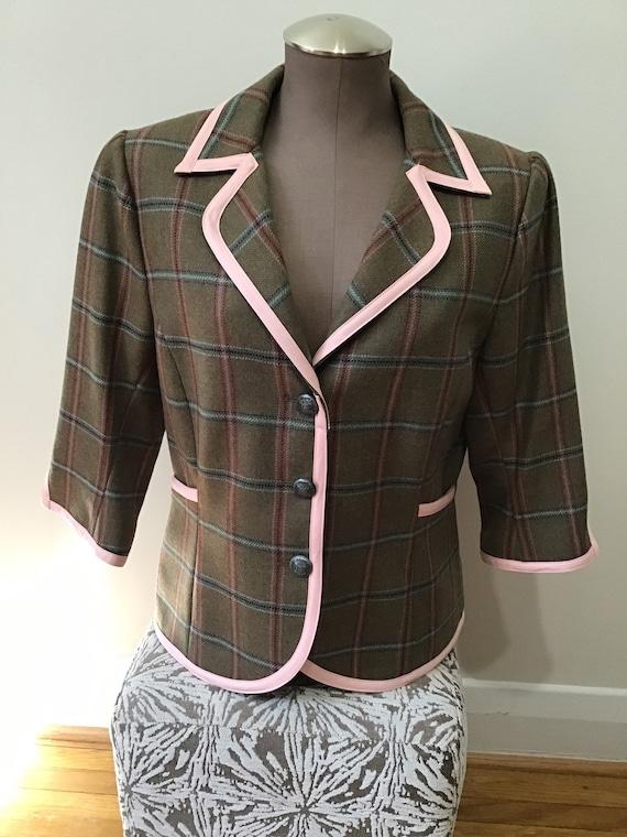 dubarry Ireland wool plaid pink trim lined blazer