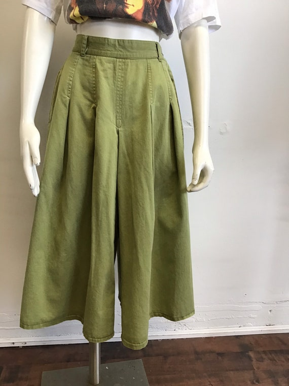 70s Vintage olive green denim Gauchos High waist R