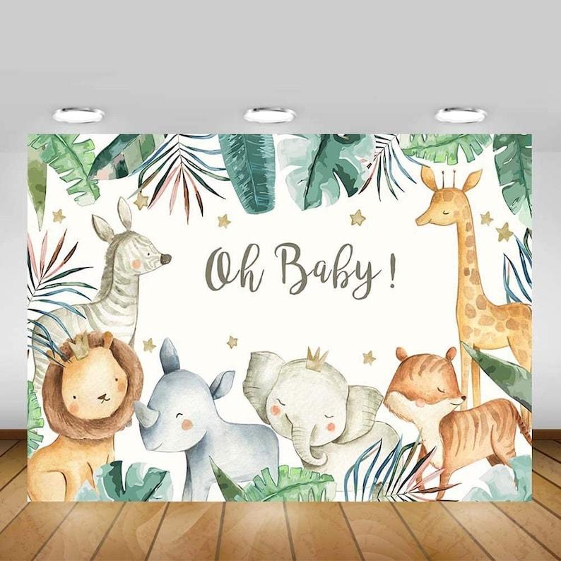 Toile de fond Safari Baby shower | A découvrir sur le blog : keepcoolnewmom.com