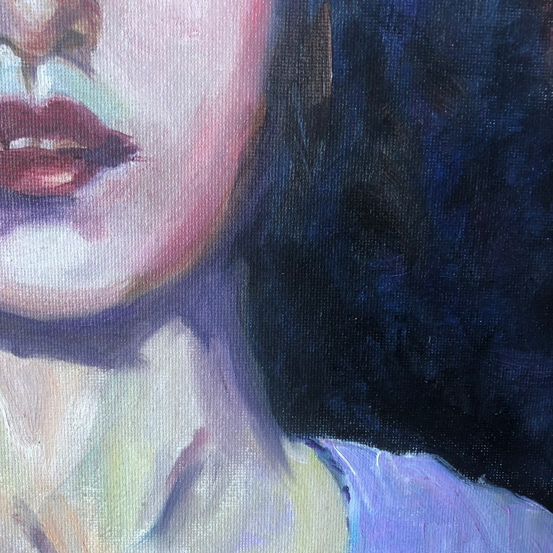 Blue eyed girl in lavender dress and abstract lavender background.Original oil painting 12x12 Loosely painted art.
