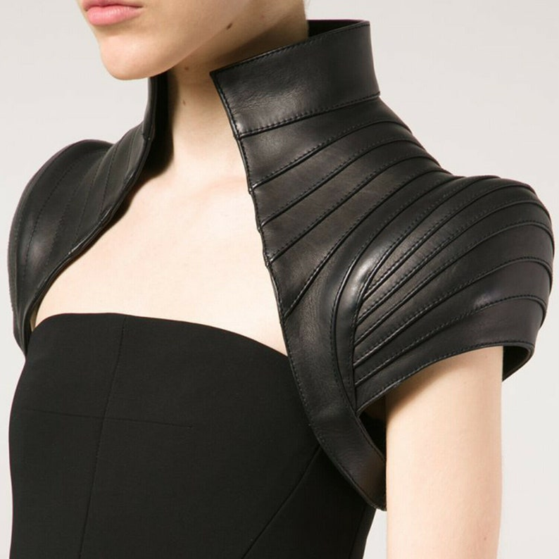Real leather Gothic women bolero steampunk leather dress Dominion women vest