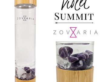 Amethyst Crystal Water Bottle By Zovaria with Snow Quartz