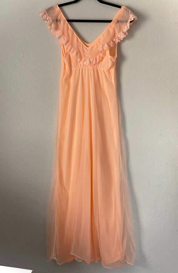 Vintage 1970s Montgomery Ward Peach Chiffon Long … - image 4